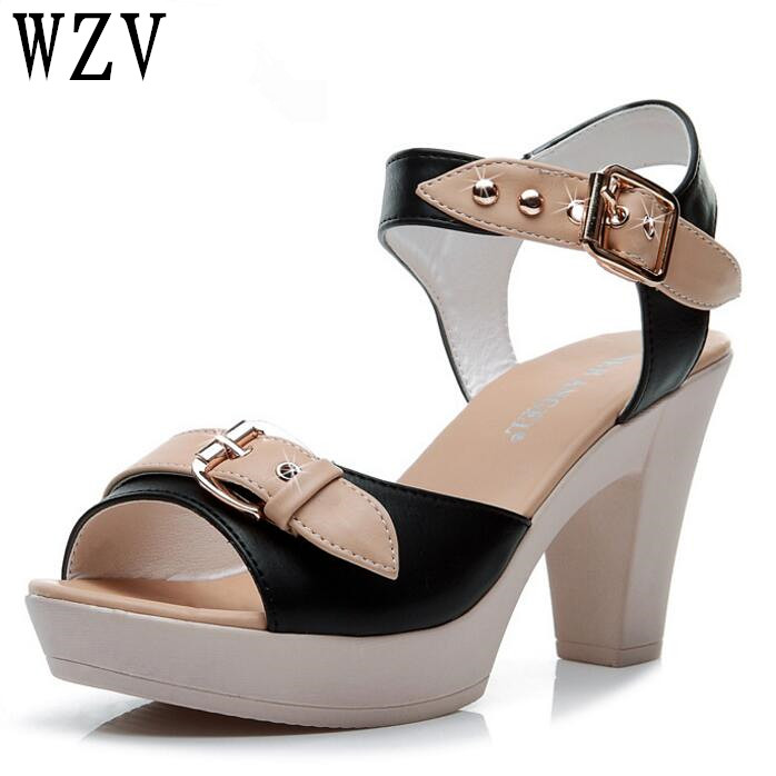 Fashion Ankle Strap Buckle Women Sandals High-heeled Open Toe Thick Platform Summer Shoes Women Shoes Free Shipping E154 summer causal open toe buckle high heeled thick waterproof platform sandals for women