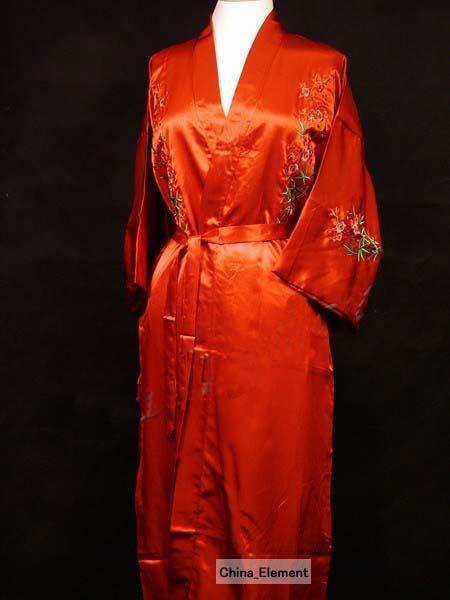 Red Silk satin Women Embroidery Robe Gown Kimono Bathrobe Sleepwear Size S M L XL XXL