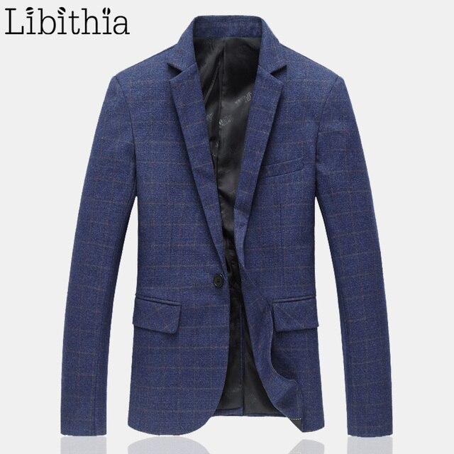 Мужчины Плед Блейзеры Костюмы Slim Fit Костюм Хлопка Куртки Бренд Высокого качество Бизнес Случайный Платье Пальто Плюс Размер М-6XL Синий J018
