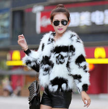Genuine Ladies Rabbit Fur Leopard Fur Jacket Women Cute Polka Dot White And Black Short Fur Coat Winter Wedding Cape Coat D1878