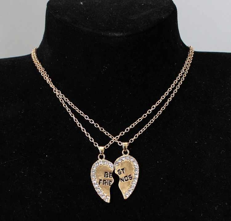 Collares a la moda de corazón de amor de oro de dos medias, collares de cristal para parejas, colgantes de moda de emparejado de moda de mujer coreana, Bisutería