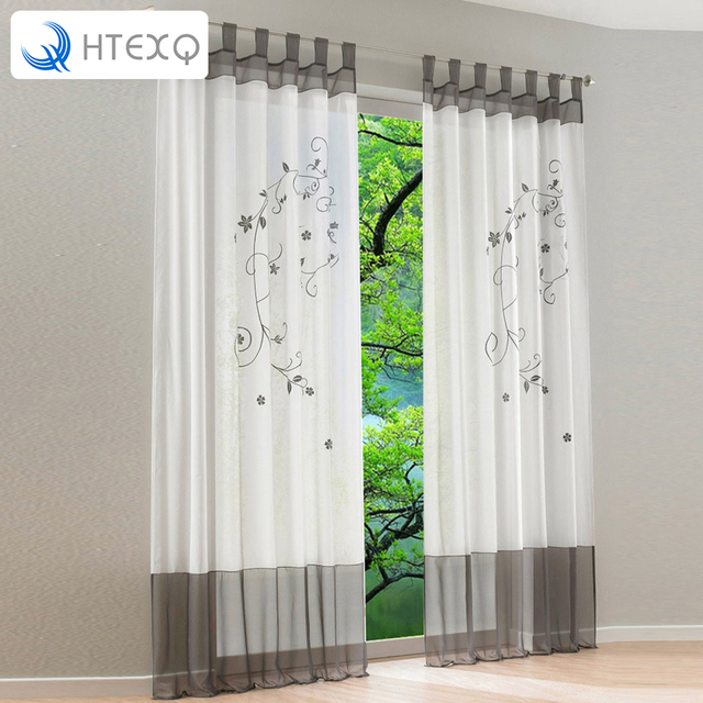 pastorale geborduurde bloemen tule gordijn voor window woonkamer de slaapkamer vitrage stof gordijnen 1 stuk