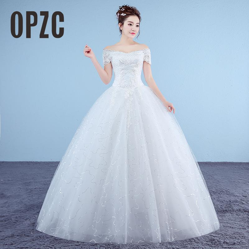 New Boat Neck Embroidered Wedding Dress 2018 Organza And Tulle Lace Up Ball White Princess Cheap Bridal Gowns Vestido De Noiva