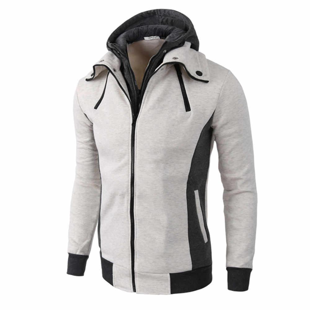 Người đàn ông của thời trang thiết kế Áo Khoác hoodies người đàn ông Mùa Thu Mùa Đông Ấm Áp Bình Thường Dây Kéo Dài Tay Áo Trùm Đầu Áo Khoác Cardigan Áo Khoác Hàng Đầu Áo