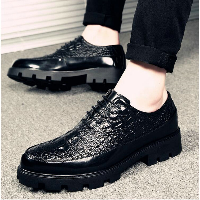 2019 New Luxury Fashion Wedding Business Shoes Men Oxford Dress Shoes crocodile Pattern Men Formal Shoes LH-67 image