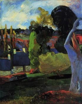 High quality Oil painting Canvas Reproductions Farm in Brittany (1894)01 by Paul Gauguin hand painted