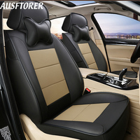 AUSFTORER Genuine Leather Covers Seat for Audi A3 Accessories Sportback Car Seat Cover Artificial Leather Seat Support Protector