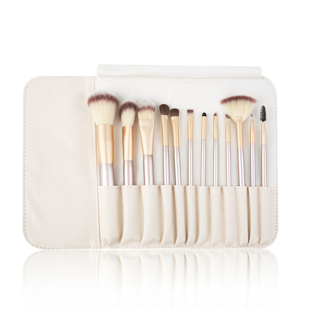 Prefessional 12pcs/kits Classic Beige Wood Handle Cosmetic Professional  Makeup Brushes Set Kit For Face Make Up Beauty
