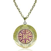 new Compass Pendant Necklace locket Jewelry Compass Rose glass dome Photo Pendant Necklace ahead Cap can Open long necklace