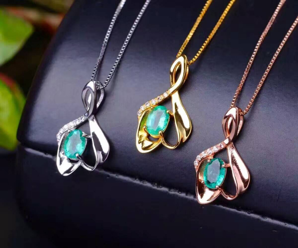natural green emerald pendant S925 Sterling silver Natural gemstone Pendant Necklace trendy Leaves sails women girl jewelry natural green emerald pendant s925 silver natural gemstone pendant necklace trendy romantic double swan women girl gift jewelry