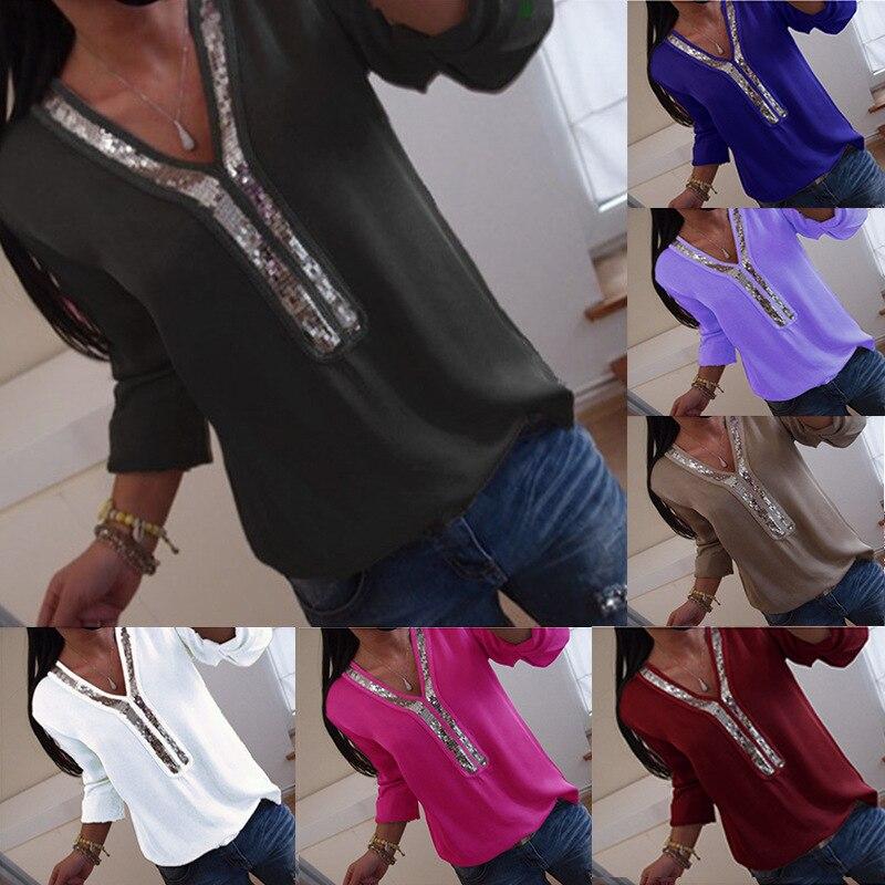 Frauen Shirts Blusen Langarm Plus Größe Frauen Chiffon Bluse 2018 Herbst Solide Pailletten Patchwork Shirts Frauen Große Größe