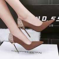 2018 Woman 10cm Fetish High Heels Pumps Female Escarpins Stiletto Party Velvet Rivet Metal Green Heels Hauts Talons Black Shoes