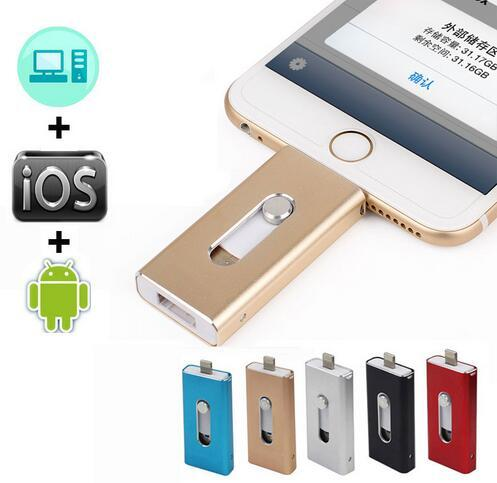 Горячая Молния OTG Flash Drive 16/32/64/128 ГБ Для iOS 10 и USB Для компьютер PC Для Планшетных OTG флэш-накопитель для iPhone U Диск 3.0