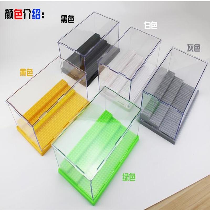 1pcs Lepins Building Blocks Clear Acrylic Plastic Single Black Display Box Case Protector Model Toys Dustproof