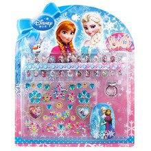 DISNEY congelado elsa y Anna niño pegatinas de uñas blanco nieve Sofia juguetes clásicos 3D diamante corona pegatinas