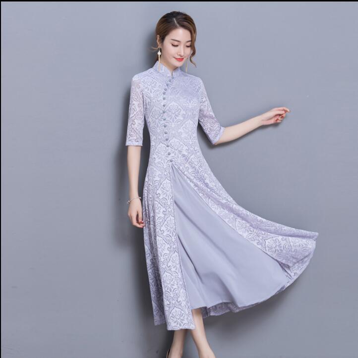 2018 Novo cheongsam folk estilo Ao Dai vietnam rendas auspicioso graciosa gola elegante Mulheres Vestido Tradicional Chinês