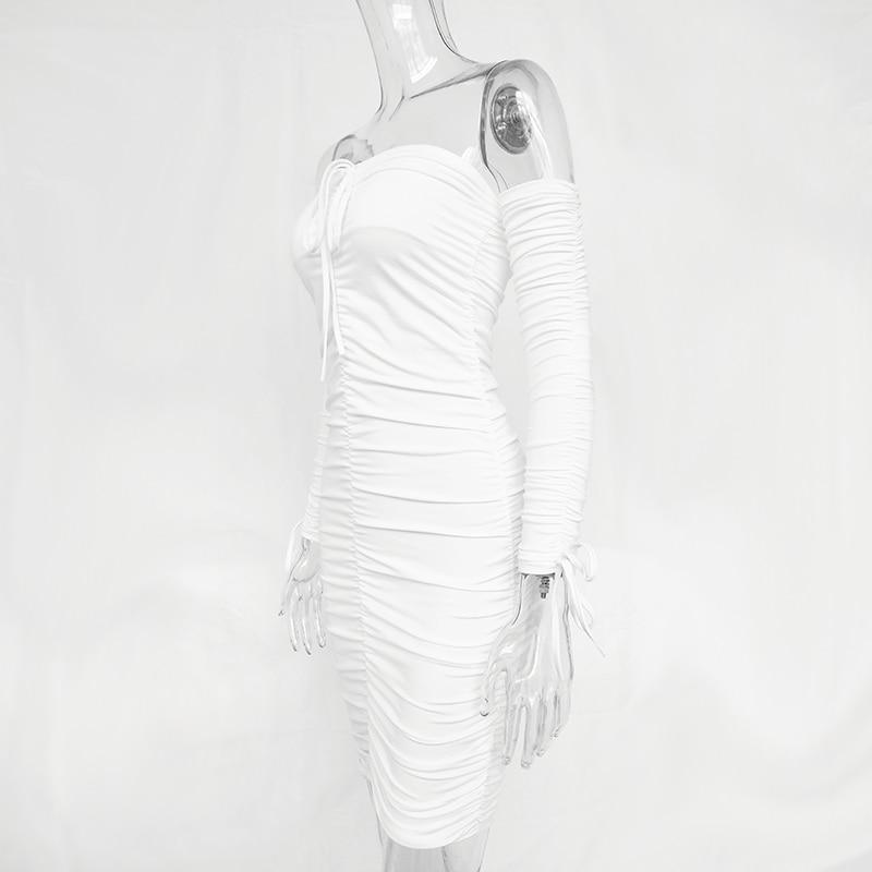 Articat Women Autumn Winter Bandage Dress Women 18 Sexy Off Shoulder Long Sleeve Slim Elastic Bodycon Party Dresses Vestidos 25