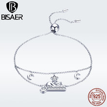 BISAER 925 Sterling Silver Double Layers Moon and Star Sleep Cat Chain Bracelet for Women Fashion Jewelry Girl Gifts GXB129 2020 new korean vintage star and moon rhinestone bracelet for women gold pearl girl bracelet gifts fashion jewelry accessory