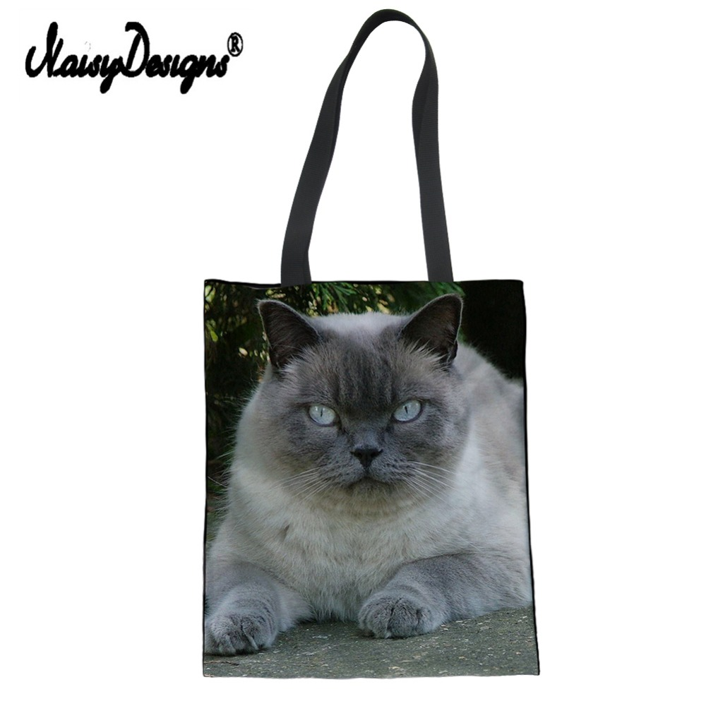 6a32ac3c3881 US $8.18 37% OFF|Cute 3d British shorthair Cat Canvas Tote Bag Eco Shopping  Bag Daily Use Foldable Handbag Large Capacity Plaid for Women Female-in ...