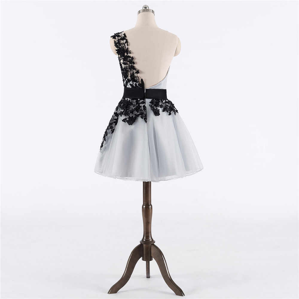 Black Gray 2019* Homecoming Dresses A-line One-shoulder Short Mini Tulle Lace Pearls Backless Elegant Cocktail Dresses