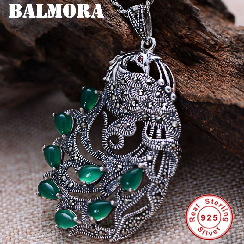 BALMORA 925 Sterling Silver Mosaic Chalcedony Peacock Pendants for Women Accessories Vintage Jewelry Without a Chain