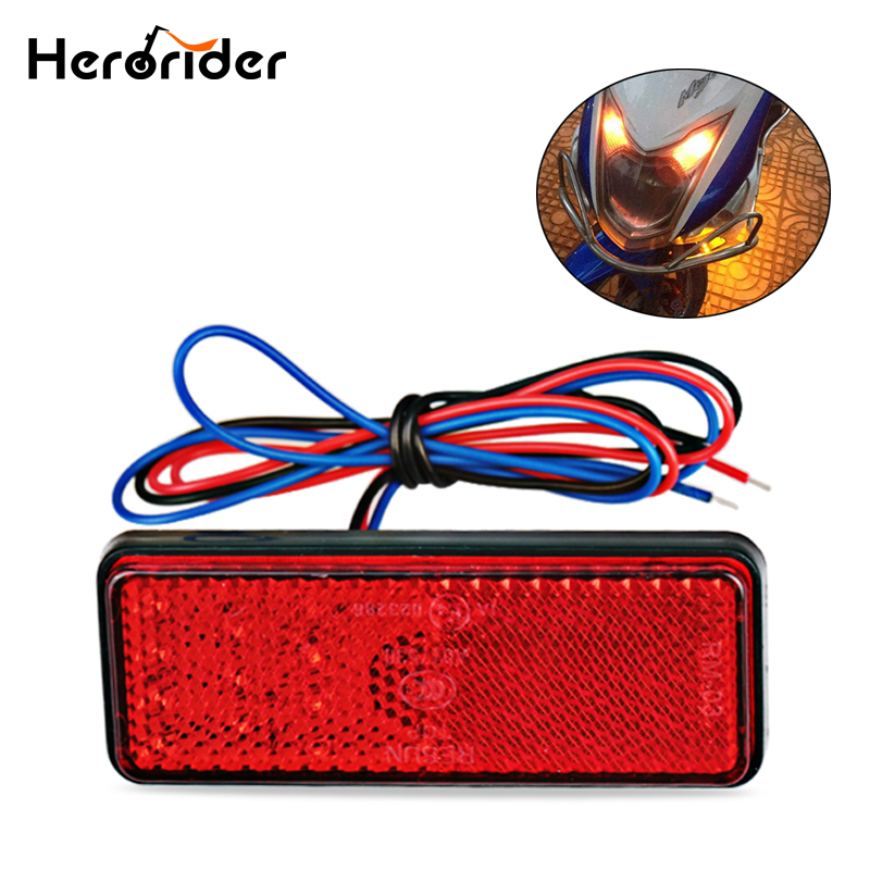 24LED Rectangle Motorcycle Reflector Tail Brake Turn Signal Light Lamp Car ATV LED Reflectors Truck Side Warning Lights