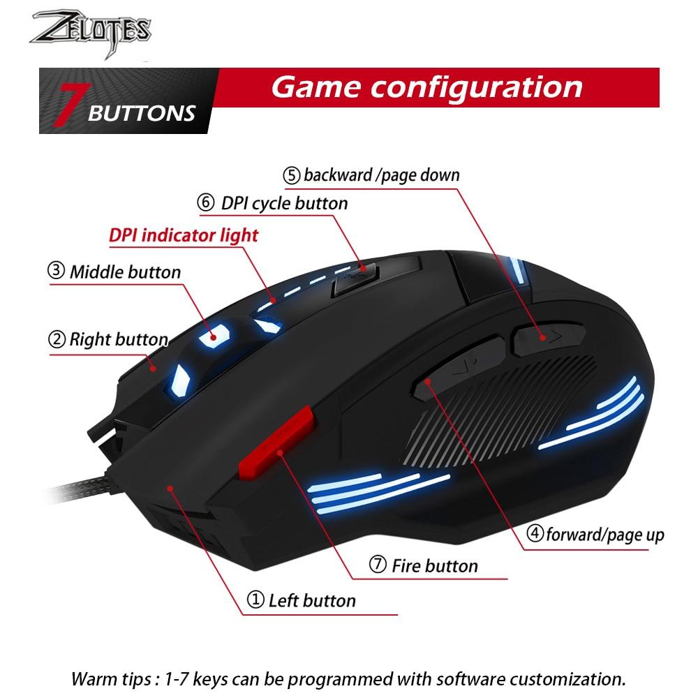 Image 3 - ZEALOT T 60 Проводная игровая мышь 7 кнопок 3200 dpi 4 цвета светодиодный свет оптическая USB компьютерная геймерская мышь для ПК ноутбука-in Мыши from Компьютер и офис