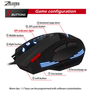 Image 3 - ZEALOT T 60 Wired Gaming Mouse 7 button 3200 DPI 4 Color LED Light Optical USB Computer Gamer Mice for PC laptop