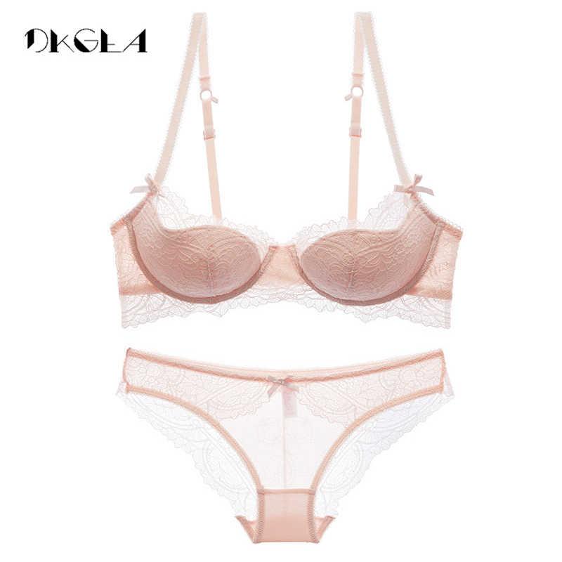 패션 어린 소녀 브래지어 세트 플러스 크기 D E 컵 얇은면 속옷 세트 여성 섹시한 브래지어 핑크 레이스 브래지어 자수를 밀어