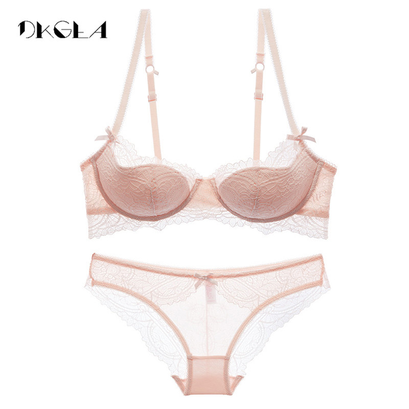 bd79e7fe08 Fashion Young Girl Bra Set Plus Size D E Cup Thin Cotton Underwear Set  Women Sexy Brassiere Pink Lace Bras Push Up Embroidery -in Bra   Brief Sets  from ...