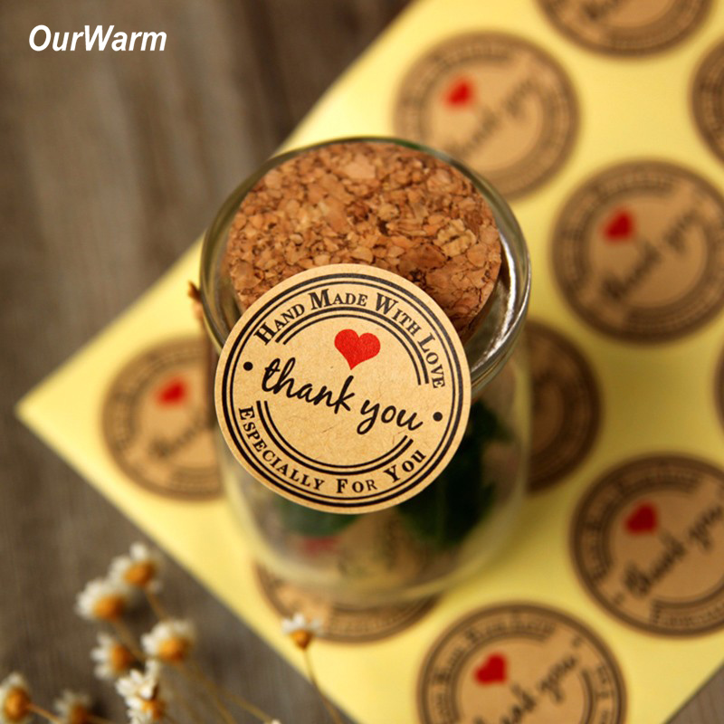 OurWarm 120pcs/set Thank You Wedding Decoration Candy Box Decor Stickers Wedding Favors and Gifts Thank You Gifts Party Supplies