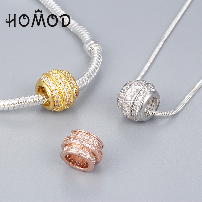 Spinner Gold Color Crown Charm For Snake Chain Bead Bracelet Fit Pandora Charm Bracelet Beads & Jewelry Making Jewelry & Accessories