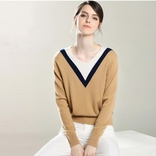 Hot NEW autumn and winter women's pure Cashmere Sweaters V collar soft Warm Knitted Pullover New style fashion Sweater