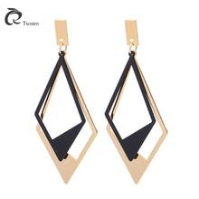 2018 new fashion earrings for woman earring two tone gold black ear geometric  metal jewelry pendant bow back two tone cat ear hoodie