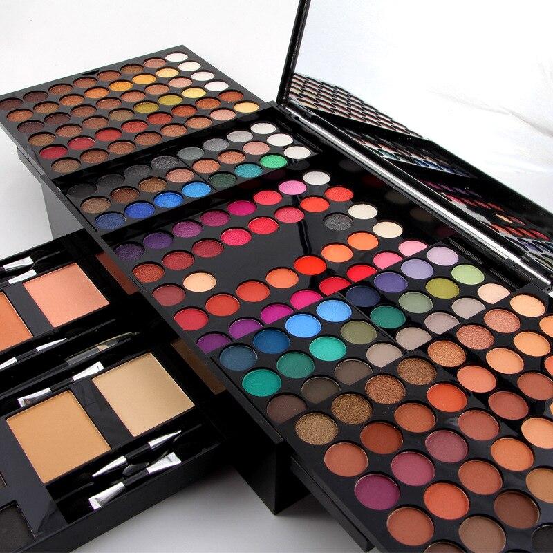 Miss Rose Professional Makeup 180 Colors Matte Shimmer Palette Powder Blush Eyebrow Contouring Beauty Kit Box HS11