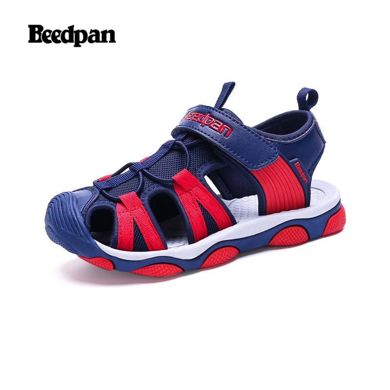 BEEDPAN Rubber Boys Sandals For Summer Beach Children Shoes Synthetic Mesh Quick-dry Sport Kids Sandals Hook&Loop Soft Leather
