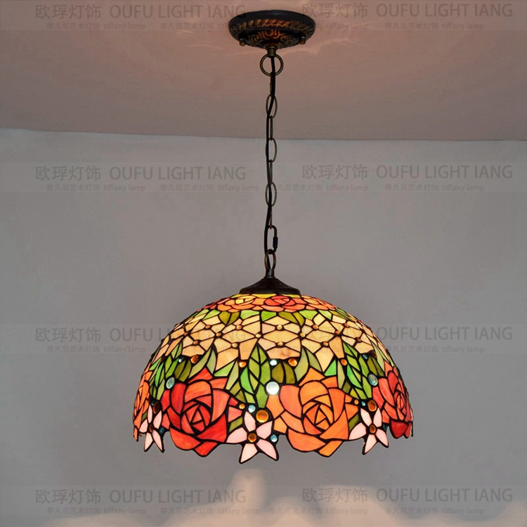 Diamètre 40 CM Tiffany Rose pendentif lumière Art en verre décoré salon salle à manger hall d'entrée lampe