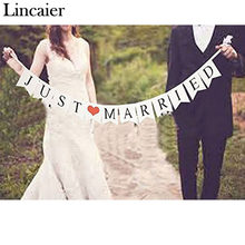 Lincaier Just Married White Banner Rustic Garland Wedding Table Decoration Vintage Party Events Supplies Mr Mrs Car Decor(China)