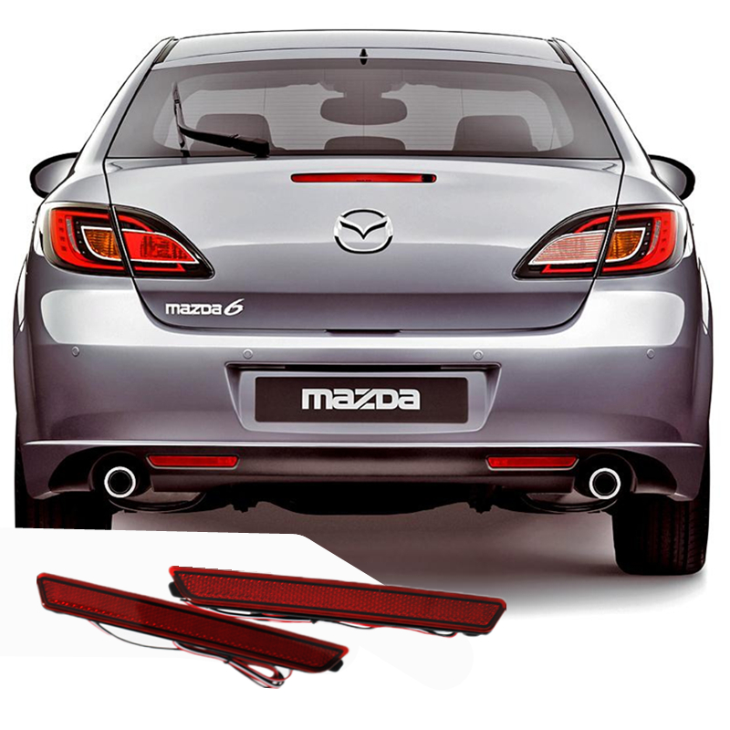 цена на LED Rear Bumper Reflectors Light for MAZDA2/3/6 Car Accessories Red Brake Lights LED Parking Warning Night Driving Fog Lamp