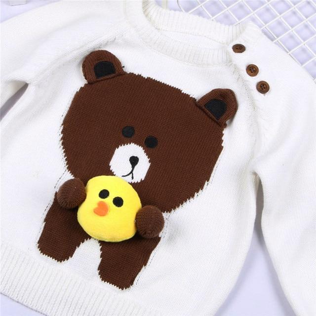 3d Bear Sweater For Toddler Boy Girl Kids Knitwear Warm Pullover