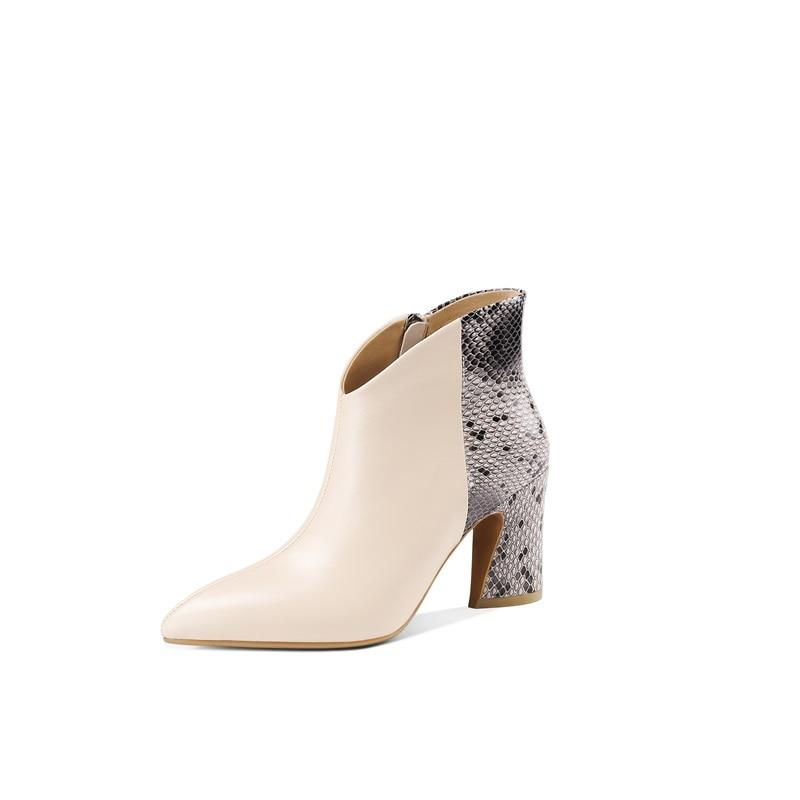 ZVQ marque bureau couleurs mélangées peau de serpent motif véritable vache en cuir bottines hiver printemps super haut talon en peluche femmes chaussures-in Bottines from Chaussures    2