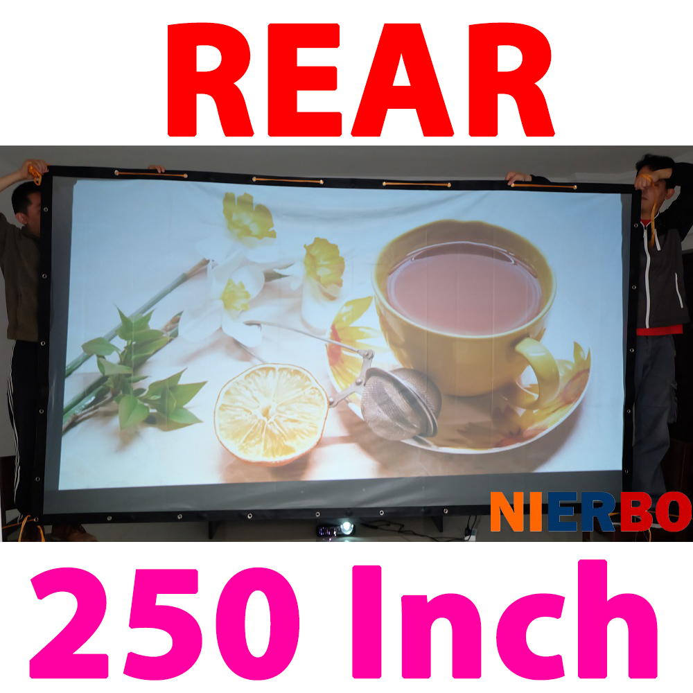 250 Inches 16:9 Portable Outdoor Rear Projection Screen, Curtain Pelicula Fabric Projectie Scherm for HD 3D LED Smart Projectors diamond 200 electric white curtain electric curtain projection screen hd