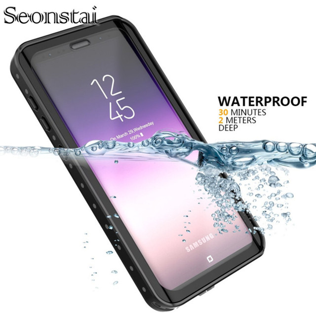 sale retailer bfb4f 6f884 US $14.4 30% OFF|For Samsung Galaxy S9 Plus Waterproof Case Shockproof  Transparent Back Cover Protector For Samsung Galaxy S9 Snowproof Coque-in  ...