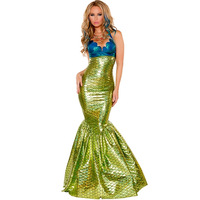 New cosplay adult role playing Ladies' game uniforms Halloween women's sexy PU leather mermaid costume