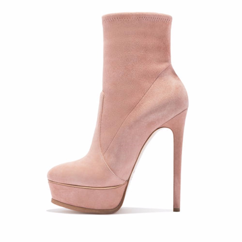 d2c9d3fbc6a Arden Furtado 2018 autumn winter fashion platform pink suede ankle boots  shoes woman stilettos high heels 14cm round toe booties-in Ankle Boots from  Shoes ...