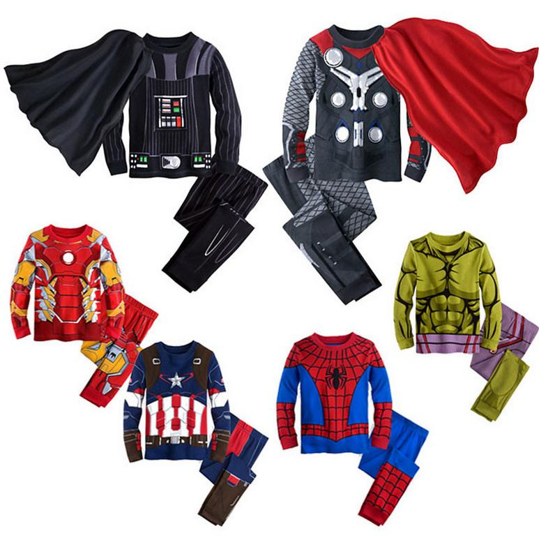 2016 kinder baumwolle cartoon kapitän amerika iron man spinne mann pyjamas jungen pyjamas kinder super hero kleidung set m-1858