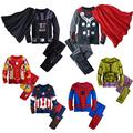 2016 children's cotton cartoon captain America Iron Man spider - man pajamas boys pajamas kids super heroes clothes set M-1858