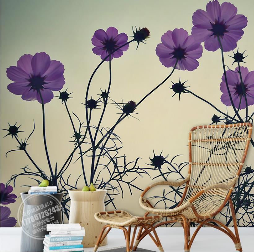 Hand-painted style Beautiful watercolor Wall paper Decor For Home Purple flowers 3d Wall paper For Living Room TV Backdrop stylish diy purple mangnolia and letters pattern wall stickers for home decor