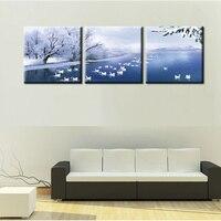 Pittura a olio su tela stampa arte Quadro Home Decoe Cuadros Decoration Immagini Parete Per Soggiorno Moderno inverno scena cigni
