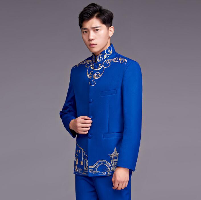 6234c67941 Hombres Cantante Para Ropa Formal De Vestido Traje Novio Bordado 2019 Azul  Con Collar Moda Pantalones Boda ...